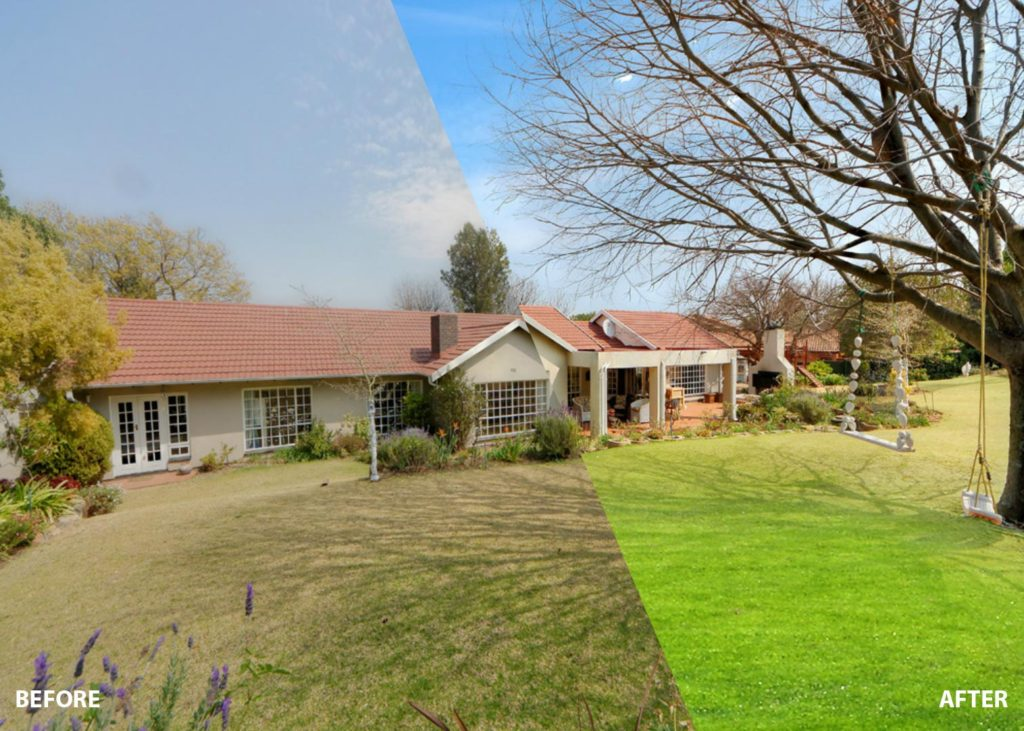 real estate image editing sky replacement & grass changing