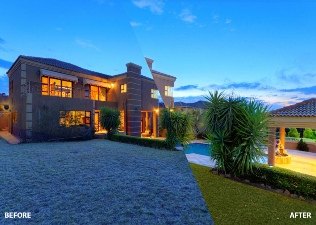 real estate image editing before after exterior image grass replacement
